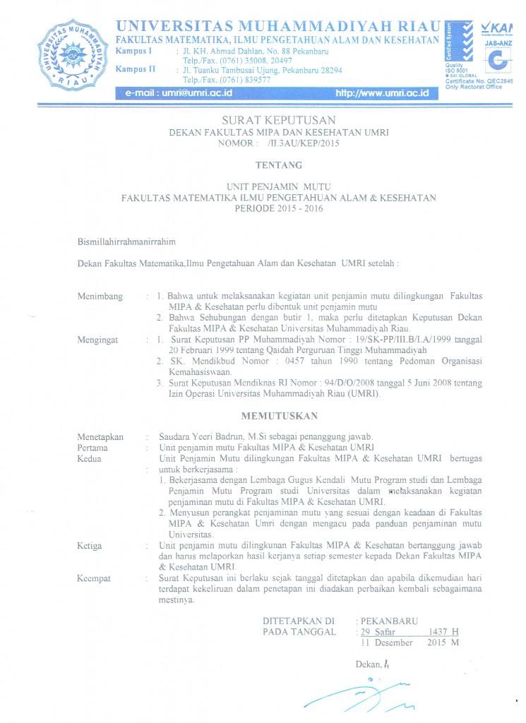 SK Unit Penjamin Mutu Fakultas 001