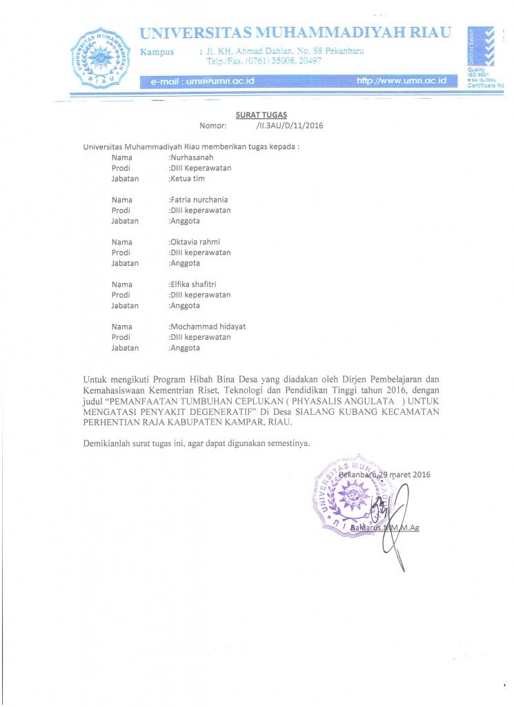 surat tugas himakep nurhasanah tim 001