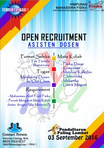 OPEN RECRUITMENT ASDOS PROGRAM STUDI FISIKA