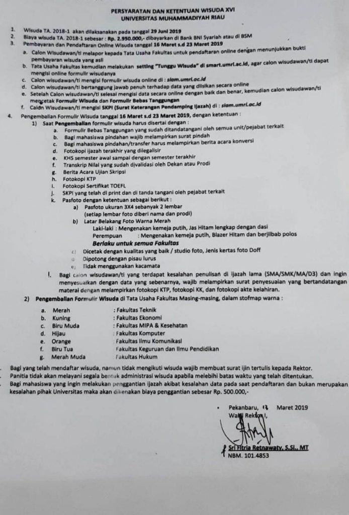 Syarat Kelulusan dan Wisuda S1 dan D3 Periode 1 tahun 2019