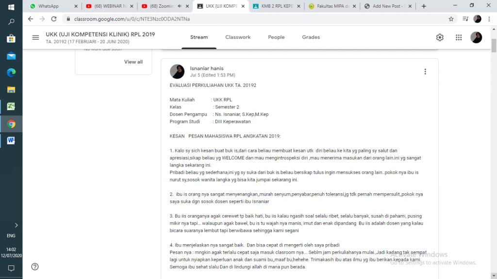 EVALUASI PERKULIAHAN KMB  dan UKK KELAS RPL  TA. 20192